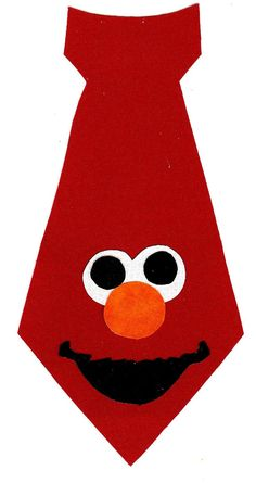 Iron on Elmo boys tie fabric applique DIY by patternoldies on Etsy, $3.00