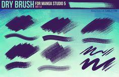 Dry Brush Pack for Manga Studio 5 (Ver. 1) by RoastedStix.deviantart.com on @DeviantArt