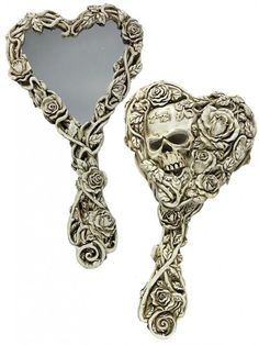 Fate of Narcissus Hand Mirror by Alchemy of England - Inked Shop Skull Decor, Skull Art, Inked Shop, Gothic Home Decor, Gothic House, Skull Jewelry, Gothic Jewelry, Jewlery, Skull And Bones