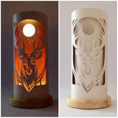A magnificent stag,silhouetted against the moonlight. Delicately carved from creamy pvc pipe.Free standing shades in a lightly stained solid pine base. Pvc Pipe Crafts, Diy And Crafts, Paper Crafts, Pvc Projects, Woodworking Projects, 3d Laser Printer, Deco Luminaire, Tree Table, Table Lamp