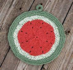 Use Lily Sugar'n Cream yarn to knit this melon dishcloth.