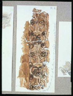 Tekstil med broderi af bort med ansigter fra vikingetidsgrav i høj, Bjerringhøj, Mammen sogn, Middelsom Herred, Viborg Amt. Akvarel af Magnus Petersen