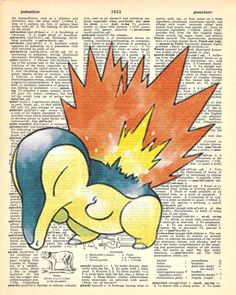 Cyndaquil Pokemon Dictionary Art Print by MollyMuffinsPrints