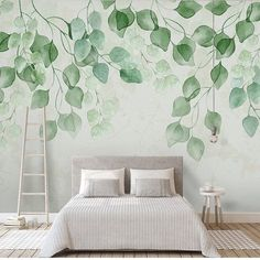 Watercolor Hand Painted Fresh Leaves Wallpaper Wall Mural, Hanging Leaves Wall Mural, Watercolor Lea - Home Dekor Wall Murals Bedroom, Bedroom Decor, Mural Wall, Bedroom Sets, Wallpaper Wall, Leaves Wallpaper, Hand Painted Wallpaper, Camera Wallpaper, Wallpaper Ideas