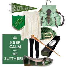 Hoorayyy now I dont have to wait for halloween,  here's an actual use for the badge I got over the summer!! :3 | Slytherin - Polyvore