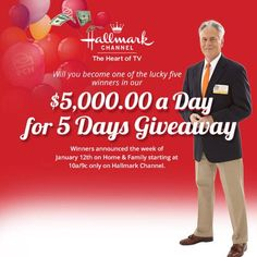 Will you become one of the lucky five winners in our $5,000 A Day Giveaway on the Hallmark channel? Enter today for your chance to win! http://pch.com/hallmark #PCH