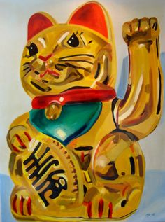 "#ElementEdenArtSearch ""Happy cat""- Kaja Weum, 120cm * 90cm Acrylic on canvas www.kajaweum.com"