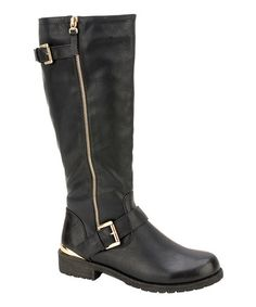 Another great find on #zulily! Black Lug Riding Boot by Nature Breeze #zulilyfinds