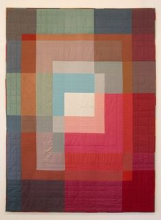 Someone beat me to it! A Paul Klee inspired quilt! Ineke Poort Beauty in simplicity: Contemporary quilt by Ineke Poort (Netherlands): voor Joost 18 jaar, 1994 Wonderful illusions of transparency. Amische Quilts, Log Cabin Quilts, Baby Quilts, Quilting Projects, Quilting Designs, Sewing Projects, Morris, Textiles, Art Textile