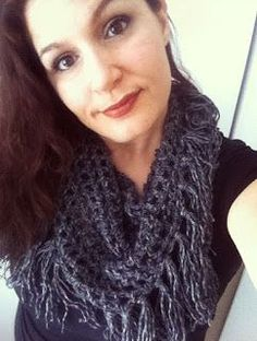 Free Crochet Pattern for Fringed Triangle Scarf ...just one ball of worsted weight yarn! Uses LionBrand Heartland Yarn