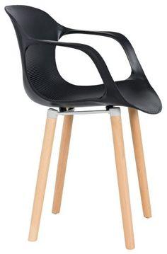 Sessel Fred Kunststoffschale Schwarz Holzfüße Braun Esszimmer im kika Online-Shop