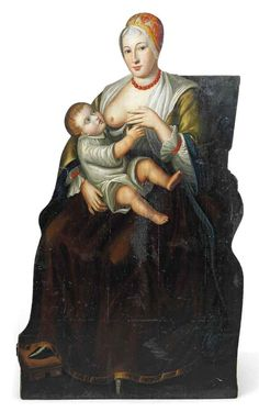 AN ENGLISH PAINTED WOOD DUMMY BOARD 18TH 19TH CENTURY In the form of a mother feeding a child 51 in.18th-5411400-details.aspx