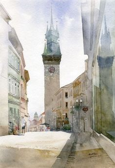 Amazingly Created Landscape and Architectural Paintings - Art Aquarelle, Watercolor Art Paintings, Watercolor Drawing, Watercolor Illustration, Painting Prints, Watercolours, Watercolor Architecture, City Landscape, Urban Sketching