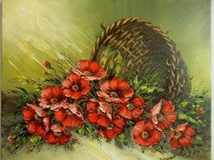 Beautiful basket with poppies, painting in oil on canvas, by Ion Voineagu, - Korb Poppies Painting, Impressionism, Oil On Canvas, Art Gallery, Basket, Beautiful, Posts, Ebay, Art Museum