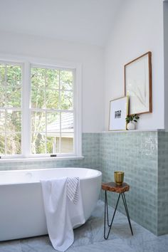 Bathroom decor for your master bathroom remodel. Learn master bathroom organization, bathroom decor suggestions, bathroom tile tips, bathroom paint colors, and more. Bathroom Interior, Luxury Bathroom, Sage Living Room, Home, Interior, Floating Tub, Bathroom Decor, Trendy Bathroom, Modern Bathroom Design