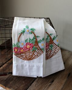 Vintage Embroidered Pillowcases Pillow Cases White Pair Flowers Pink Blue Green Bedding Linens Shabby Cottage Chic