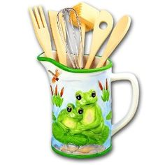 Delicieux Green Frog Kitchen Utensil Tool Holder