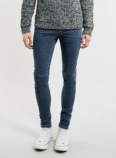 Mid Wash Spray On Skinny Jeans