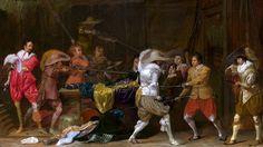 Soldados peleándose por el botín en un granero, hacia 1623-4, Willem Duyster, National Gallery, Londres. Representa soldados del período de la Guerra de los 30 Años , las ricas y elegantes vestimentas son el botín producto de su rapiña. Más en www.elgrancapitan.org/foro