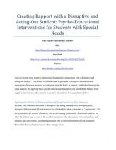 Creating Rapport with a Disruptive and Acting-Out Student: Psycho-Educational Interventions for Students with Special Needs