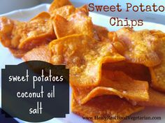 Sweet Potato Chips. These are amazing. We also tried baking them, but we were on a time crunch, so did these fried versions at the same time, and they're definitely tastier, more dense and crunchier! And we didn't feel as bad since they were fried in coconut oil. :)