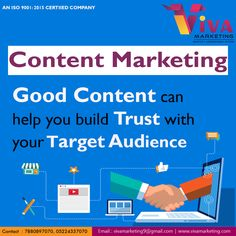 Good  Content can help you build trust with your target Audience.   For more details: Call - +91-8953507070 vivamarketing9@gmail.com  Office : Office No 6, 2nd Floor, Metro Plaza, Vivek Khand, Gomti Nagar, Lucknow (Near Nidan Diagnostic Centre) ---------------------------------------------------------------- #DigitalCreativeAgency #BrandAgency #VIVA #DigitalMediaMarketing #SocialMediaMarketing #Mobile #socialmediatrends #SocialMedia #Business #Startups #Leadership #Sales #entrepreneurship… Digital Media Marketing, Social Media Marketing, Digital Creative Agency, Social Media Trends, Target Audience, 2nd Floor, Startups, Content Marketing, Entrepreneurship