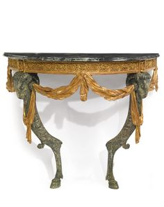 A GERMAN NEOCLASSICAL PARCEL-GILT, GREEN-PAINTED AND CARVED CONSOLE TABLE, BASED ON A DESIGN BY FRANÇOIS CUVILLIÉS THE YOUNGER AND PROBABLY CARVED BY MICHAEL PÖSSENBACHER MUNICH, CIRCA 1772