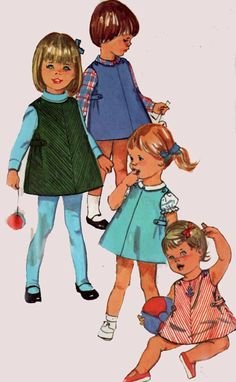 1960s Simplicity 6158 Mod A Line Dress or Jumper 60s Vintage Sewing Pattern Toddler Size 1  UNCUT by sandritocat on Etsy