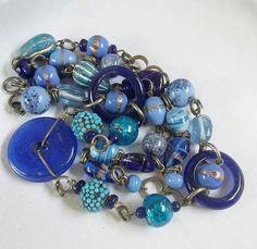 Unique Blue Glass vintage necklace.