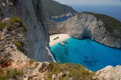 Navagio Beach also known as Shipwreck Beach located at the Northwest side of beautiful Zakynthos Island, Greece. It is one of the most famous beaches in Greece. Most Beautiful Beaches, Beautiful Places To Visit, Oh The Places You'll Go, Places To Travel, Wonderful Places, Best Beaches In Europe, Beaches In The World, Dream Vacations, Vacation Spots