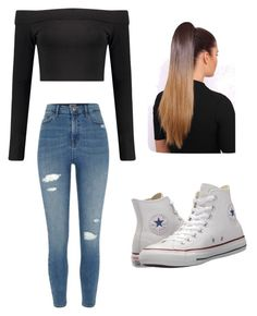 """Untitled #48"" by haileymagana on Polyvore featuring Boohoo, River Island and Converse"