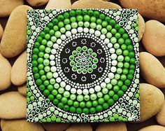 Forest Art, small Original Aboriginal Art Dot Painting, acrylic paint on canvas board, green decor, Forest, 10cm x 10cm
