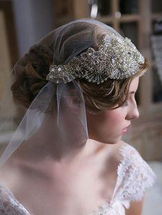 Art Deco Veil, Silver Swarovski Crystal Veil, Tulle Cap Veil with detachable headpiece, Bridal Veil, Crystal Juliet Cap Veil, STYLE 127 on Etsy, £180.69