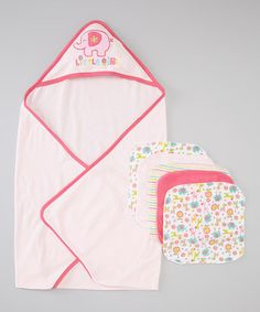 This matching set makes a super splash at bath time. Soft washcloths gently bathe delicate skin, while the absorbent hooded towel cuddles Baby in warm comfort. Happy colors and sweet animal buddies make it the little one's very own.