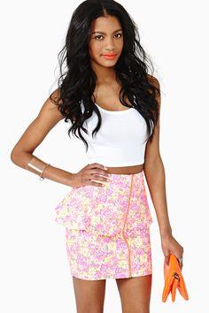 Neon Garden Peplum Skirt