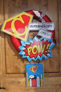 Superhero wreath for classroom door . The teacher could use her initial. So cute for a superhero themed classroom! Superhero School Theme, Superhero Classroom Decorations, Superhero Room, Superhero Birthday Party, School Decorations, School Themes, Classroom Themes, 3rd Birthday, Classroom Door