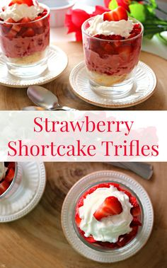 Strawberry Shortcake Trifles! Hey guys! This EASY strawberry shortcake trifle recipe will melt her heart of Valentine's Day! Click to see how easy it is to make these strawberry shortcake #TriflesOfLove!