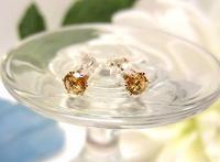 Golden Topaz CZ Sterling Silver Post Earrings November Birthstone