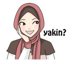 Hijab Gaul - Stiker LINE | LINE STORE Adele, Hijab Drawing, Islamic Cartoon, Anime Muslim, Hijab Cartoon, Islam Beliefs, Funny Emoji, Funny Stickers, Line Sticker