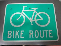 """Vintage Retired 18"""" x 24"""" Green And White Bike Route Highway Road Street Sign"""