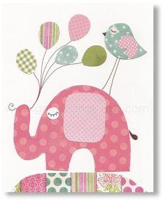 Illustration pour chambre d'enfant fille. elephant affiche