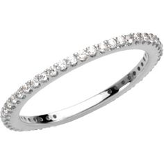 14k White Gold Diamond #Stackable Ring - #Anniversary_Band