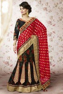 Black Color Wedding Wear Designer Lehenga Saree
