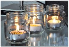 Simple way to upcycle baby food jars. use citronella tea lights. Baby Jars, Baby Food Jars, Food Baby, Baby Foods, Candle Jars, Mason Jars, Canning Jars, Candle Holders, Lego Themed Party