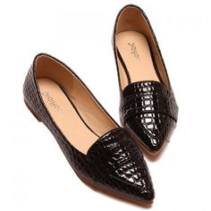 Stylish Patent Leather and Crocodile Print Design Women's Flat Shoes, BLACK, 39 in Flats | DressLily.com