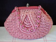 Vintage Pink Woven Raffia Plastic Chain Purse Handbag