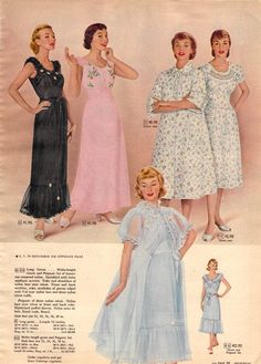 1956 Sears Christmas Book, lingerie nightgown robe 50s 60s ad