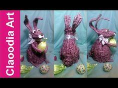 Królik, zając z papierowej wikliny [rabbit,bunny, wicker paper, Easter decorations] (Claoodia Art) - YouTube