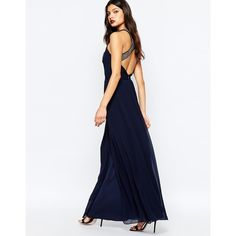 Warehouse Embellished Cross Back Maxi Dress (1.639.450 IDR) ❤ liked on Polyvore featuring dresses, navy, zipper dress, navy dress, tall maxi dresses, white maxi dress and embellished dresses