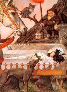 Snow White by Charles Santore - biancaneve Alphonse Mucha, Classic Fairy Tales, Fairytale Art, Children's Book Illustration, Book Illustrations, Botanical Illustration, Samhain, Figure Painting, Faeries
